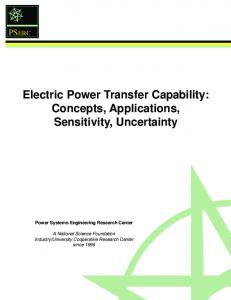 Electric Power Transfer Capability: Concepts, Applications, Sensitivity ...