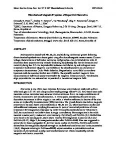 Electrical and Magnetic Properties of Doped ZnO ...