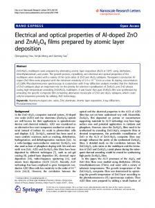 Electrical and optical properties of Al-doped ZnO and ... - BioMedSearch