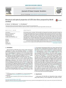 Electrical and optical properties of CZTS thin films prepared by ... - Core