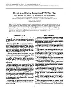 Electrical and Optical Properties of TiN Thin Films - Springer Link