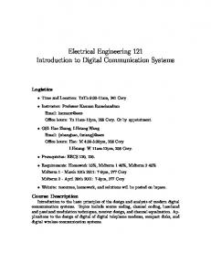 Electrical Engineering 121 Introduction to Digital Communication ...