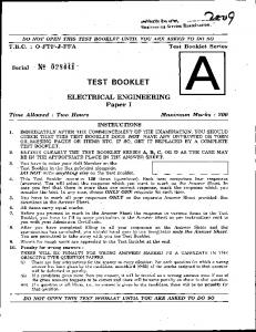 Electrical Engineering Paper I - GELI: Question Papers