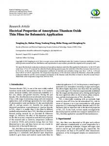 Electrical Properties of Amorphous Titanium Oxide Thin Films for ...