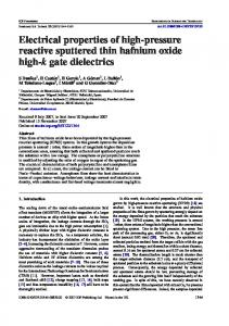 Electrical properties of high-pressure reactive sputtered thin hafnium
