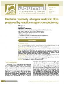 Electrical resistivity of copper oxide thin films ... - Semantic Scholar