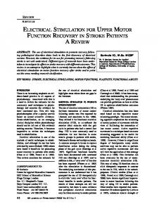 electrical stimulation for upper motor function recovery in stroke ...