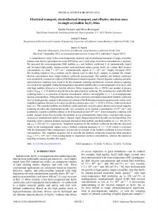 Electrical transport, electrothermal transport, and effective electron ...