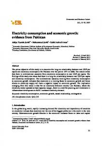 Electricity consumption and economic growth: evidence ... - CiteSeerX
