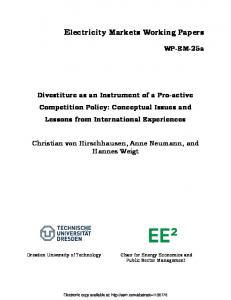 Electricity Markets Working Papers - SSRN papers