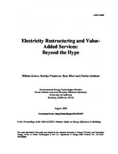 Electricity Restructuring and Value- Added Services - CiteSeerX