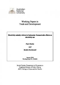 Electricity subsidy reform in Indonesia - Arndt-Corden Department of
