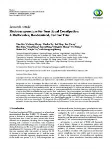 Electroacupuncture for Functional Constipation: A Multicenter ...