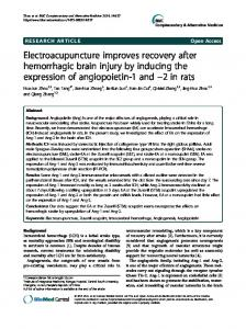 Electroacupuncture improves recovery after hemorrhagic brain injury