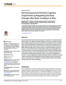 Electroacupuncture Prevents Cognitive ... - Semantic Scholar