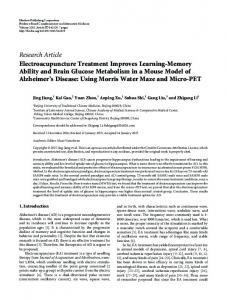 Electroacupuncture Treatment Improves Learning-Memory Ability and ...