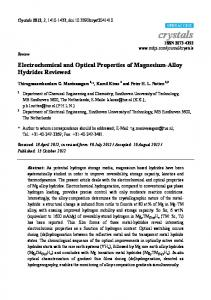 Electrochemical and Optical Properties of Magnesium-Alloy ... - MDPI
