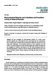 Electrochemical Behavior and Antioxidant and Prooxidant ... - MDPI