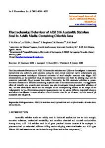 Electrochemical Behaviour of AISI 316 Austenitic Stainless Steel in ...