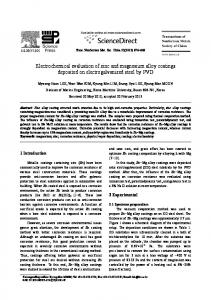 Electrochemical evaluation of zinc and magnesium alloy coatings ...
