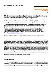 Electrochemical Impedance Spectroscopy Investigation of Alloy ...