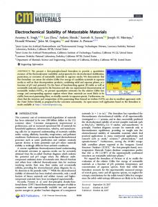 Electrochemical Stability of Metastable Materials - ACS Publications