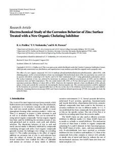 Electrochemical Study of the Corrosion Behavior of Zinc Surface ...