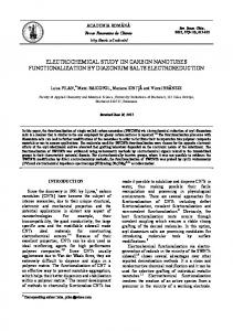 electrochemical study on carbon nanotubes functionalization by