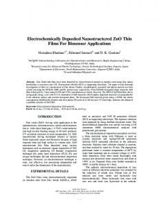 Electrochemically Deposited Nanostructured ZnO ...