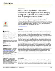Electrochemically reduced water exerts superior reactive ... - PLOS