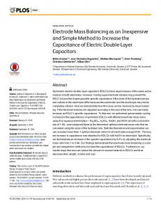 Electrode Mass Balancing as an Inexpensive and Simple Method to ...