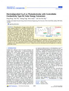 Electrodeposited Cu2O as Photoelectrodes with ... - ACS Publications