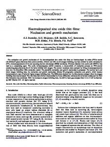 Electrodeposited zinc oxide thin films: Nucleation and