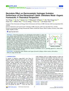 Electrolyte Effect on Electrocatalytic Hydrogen ... - ACS Publications