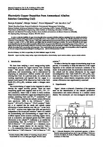 Electrolytic Copper Deposition from Ammoniacal Alkaline Solution