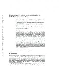Electromagnetic effects in the stabilization of turbulence by sheared flow