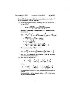 Electromagnetism 70006 Answers to Problem Set 5 Spring 2006 1 ...