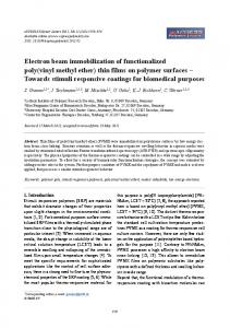 Electron beam immobilization of functionalized poly(vinyl methyl ether ...