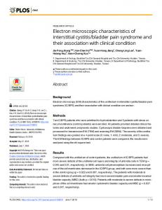 Electron microscopic characteristics of interstitial cystitis ... - PLOS