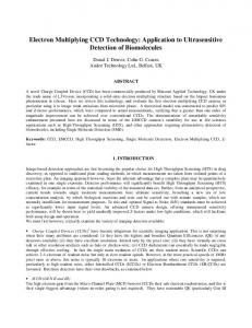 Electron Multiplying CCD Technology: Application to Ultrasensitive ...