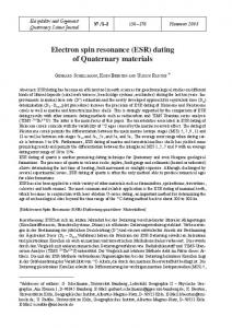 Electron spin resonance (ESR) dating of ... - Quaternary Science Journal