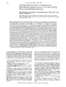 Electron Transfer and Mechanisms of Electrochemically Induced ...
