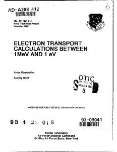 ELECTRON TRANSPORT CALCULATIONS ...