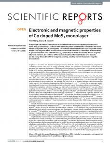Electronic and magnetic properties of Co doped MoS2 ... - CyberLeninka