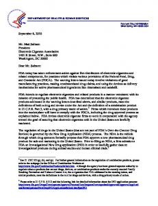 Electronic Cigarette Association - Letter to Industry - Food and Drug ...
