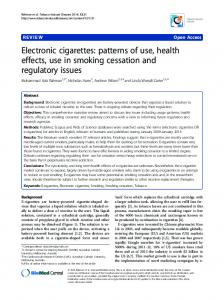 Electronic cigarettes: patterns of use, health effects, use in smoking ...