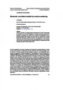 Electronic correlation studied by neutron scattering - Max Planck