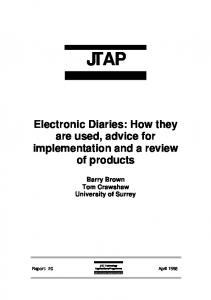 Electronic Diaries: How they are used - Jisc