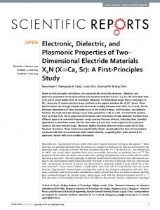 Electronic, Dielectric, and Plasmonic Properties of
