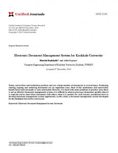 Electronic Document Management System for ... - Unified Journals